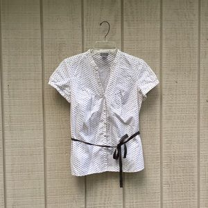 Ann Taylor white & brown bow / hourglass top, 6